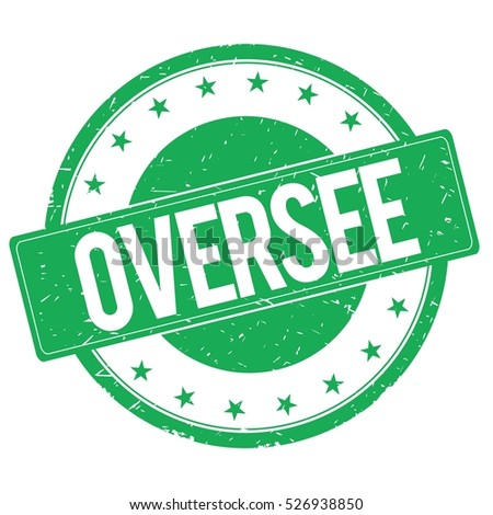 OVERSEE stamp sign text word logo green.