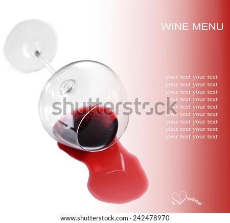 Overturned glass of wine and space for your text isolated on white - stock photo