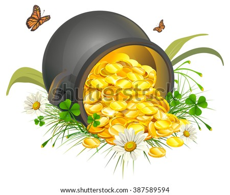 Overturned pot of gold coins. Isolated on white illustration