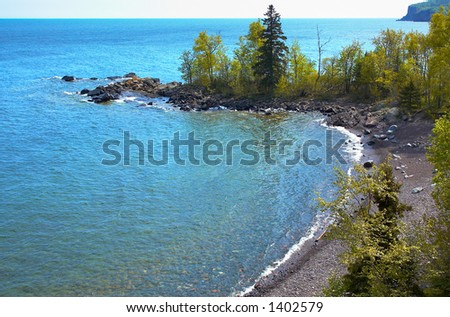 Overview a bay on Lake Superior North Shore. More with keyword Series14. - stock photo