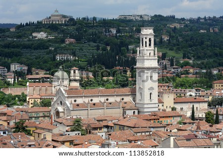 Overview at the Cathedral of Verona on Italy UNESCO, World Heritage - stock photo