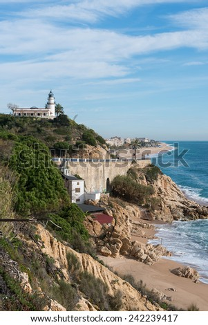 Overview Calella lighthouse in Barcelona (Spain)