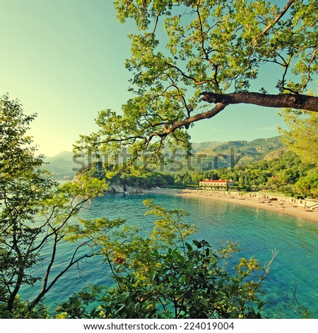 Overview from scenic beach and hills in the beautiful bay, Mediterranean sea (Italy) - stock photo