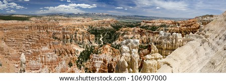 Overview in Bryce Canyon National Park in Utah in America