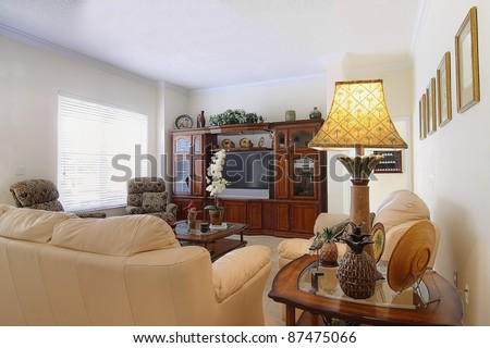 Overview of a beautiful classic family room  in a private residence - stock photo