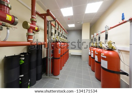 Overview of a powerful industrial fire extinguishing system. - stock photo