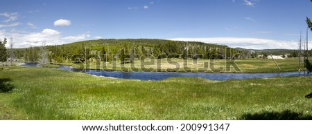 overview of a river in Yellowstone