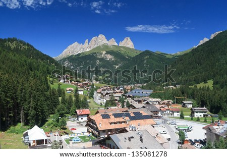 overview of Alba di Canazei, small town in Val di Fassa, Trentino, Italy