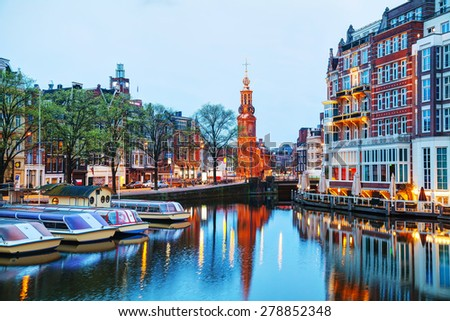 Overview of Amsterdam with Munttoren at sunrise - stock photo