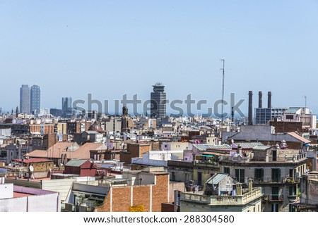 Overview of Barcelona, Catalonia, Spain - stock photo