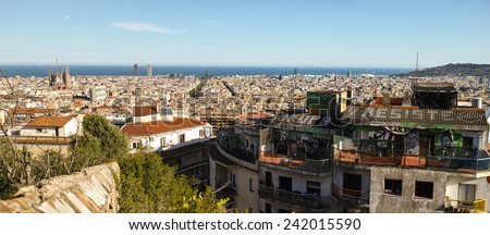 Overview of Barcelona from park Guell
