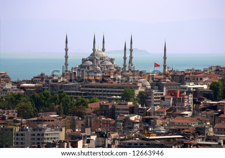 Overview of Blue Mosque in Istambul over blue sky