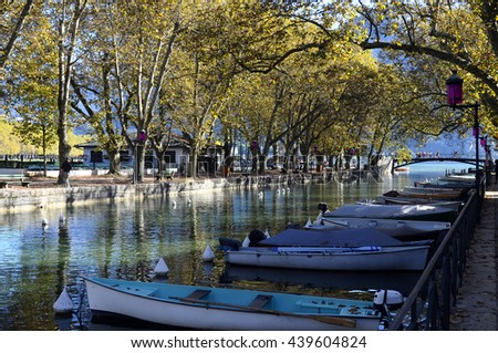 Overview of Bridge of loves and lake in Annecy city, France - stock photo