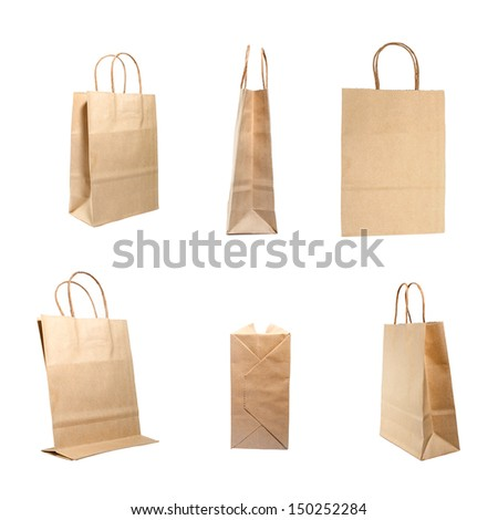 Overview of brown paper bag isolated on a white background - stock photo