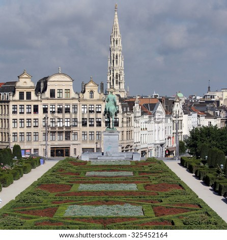 Overview of Brussels city center - stock photo