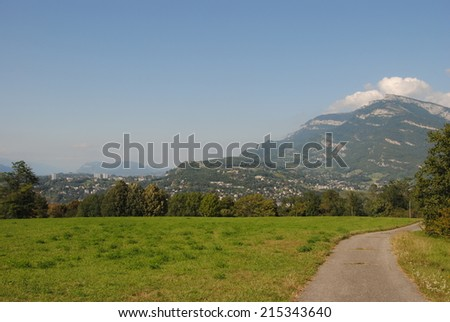 Overview of city and mountains of Chambery, Savoy, France - stock photo