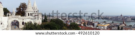 Overview of city of Budapest from Buda Castle, Hungary
