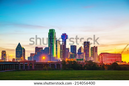 Overview of downtown Dallas in the morning - stock photo