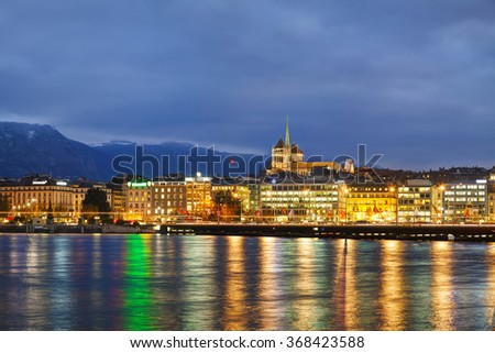 Overview of Geneva, Switzerland at the night time - stock photo
