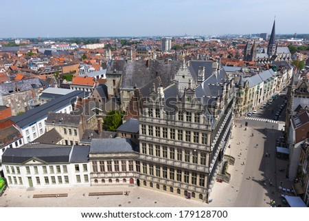 Overview of Ghent with Town Hall in the front - stock photo
