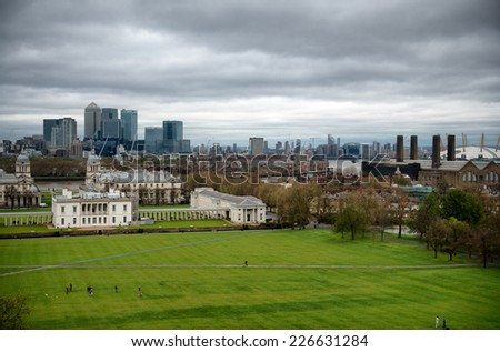 Overview of Greenwich Looking Toward Canary Wharf with Cloudy Sky, London, England - stock photo