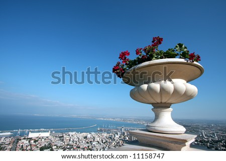 Overview of Haifa city in Israel, with plant in pot in foreground. - stock photo