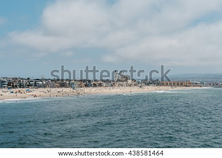 Overview of Hermosa and Redondo Beaches seem from the Hermosa Beach Pier, Los Angeles, California - stock photo