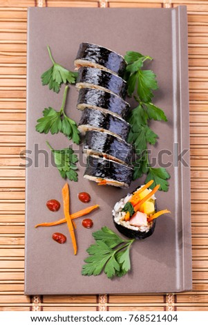 Overview of kimbap. A korean food.