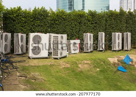 Overview of multiple air conditioning units - stock photo
