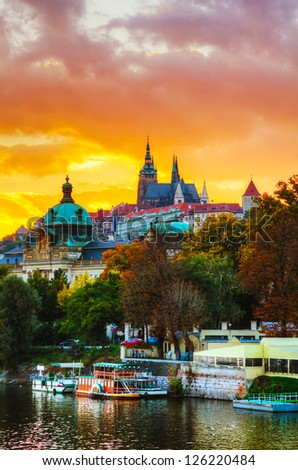 Overview of old Prague at sunset - stock photo