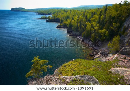 Overview of several bays on Lake Superior North Shore. More with keyword Series14