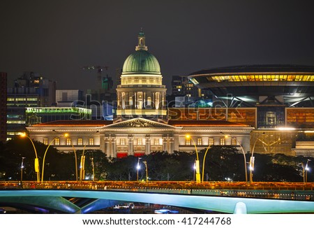 Overview of Singapore at the night time - stock photo