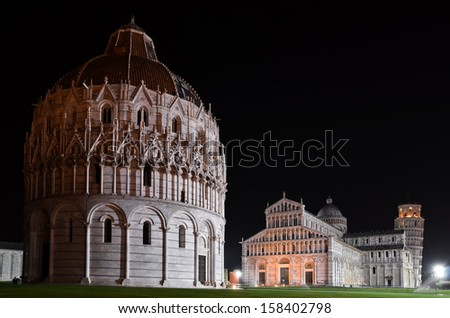 Overview of Square of Miracles in Pisa by night - stock photo