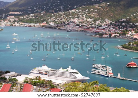 overview of St. Thomas port, Charlotte Amalie - stock photo