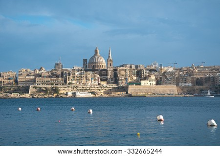 Overview of the city of Valletta, Malta, from the town of Sliema