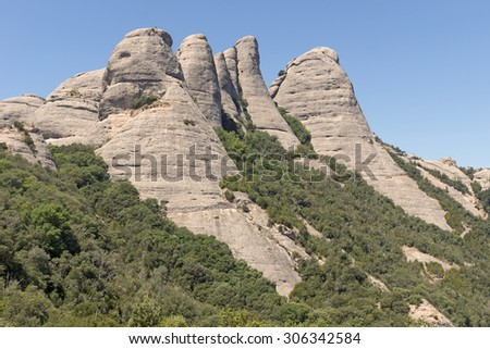 Overview of the mountains of Montserrat in Barcelona, Catalonia, Spain.