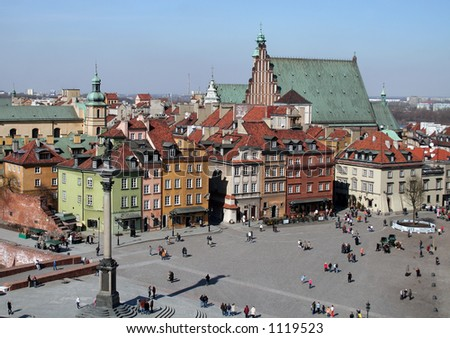 Overview of the Old Town in Warsaw - stock photo