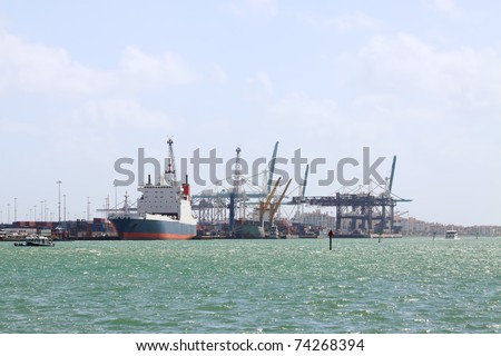 Overview of the Port of Miami while loading a container ship
