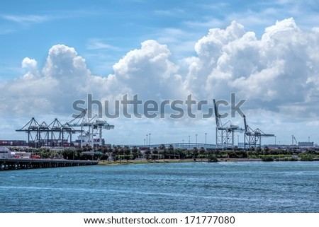 Overview of the Port of Miami with several cranes - stock photo
