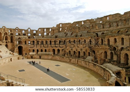 "Overview of the Roman coliseum at ""El Jem"" in Tunisia"