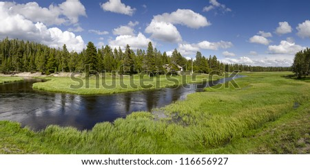 overview of the Yellowstone River in Yellowstone National Park in Wyoming in the United States of America