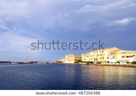 Overview of town and mediterranean sea in Port leucate, France