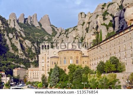 Overview Santa Maria de Montserrat monastery. Catalonia, Spain. - stock photo