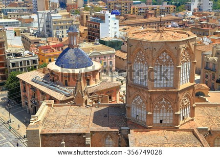 Overview to the rooftop of the Metropolitan Cathedral (Basilica of the Assumption of Our Lady of Valencia / Saint Mary's Cathedral / Valencia Cathedral), Valencia, Spain - stock photo