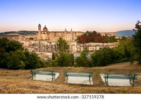 Overview Urbino - stock photo