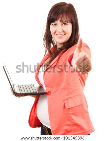 overweight businesswoman with laptop and thumb up, looking at camera, white background