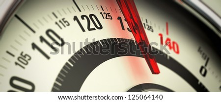 Overweight concept, close-up of a bathroom scale - stock photo