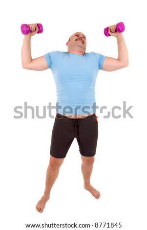 Overweight man having a hard time lifting two dumbbells