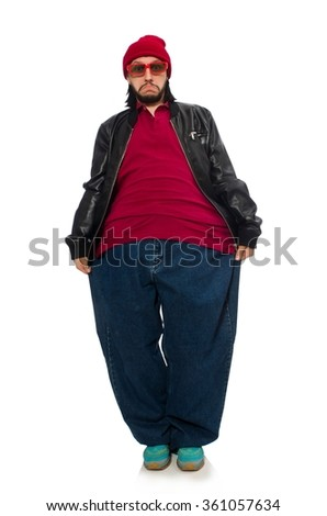 Overweight man isolated on the white - stock photo
