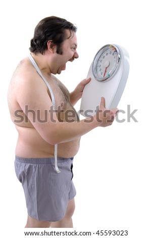 Overweight man with the weight scale